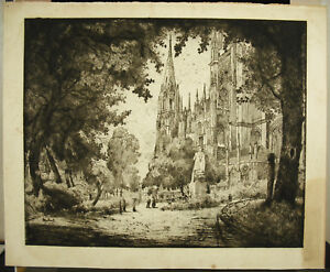 Cathedral-Notre-Dame-Of-Rouen-1923-Beautiful-Proof-Artist-IN-Determine-24in