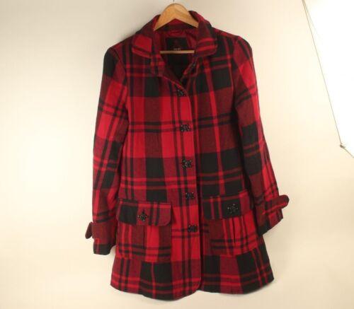 donna Punk Dakota Cappotto nero Bb rosso Hipster Taglia gotico di da medio scozzese lana nv855dwxqF