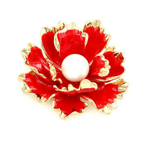 Betsey-Johnson-Women-039-s-Red-Enamel-Pearl-Peony-Flower-Charm-Party-Brooch-Pin