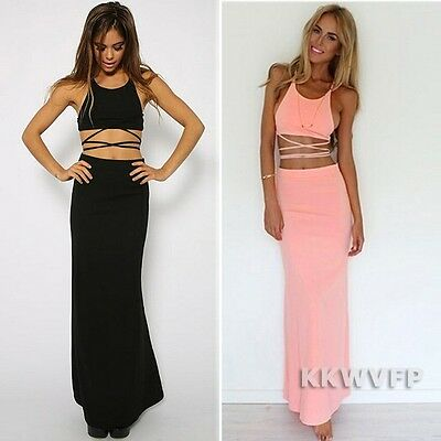 Summer Sexy Women Bandage Tropical Casual Beach 2 Piece Crop Top&Long Skirt Set