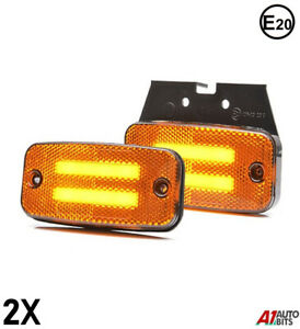6 x 12V 24V LED Side Marker Lights with Cable Amber Orange Outline Lamps Truck Waterproof E-Marked Trailer Lorry Decoration Accessories