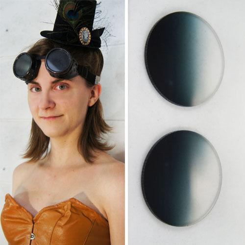Metallic Black Shine Steampunk Acrylic Welding Goggle Cosplay Costume Gothic Set