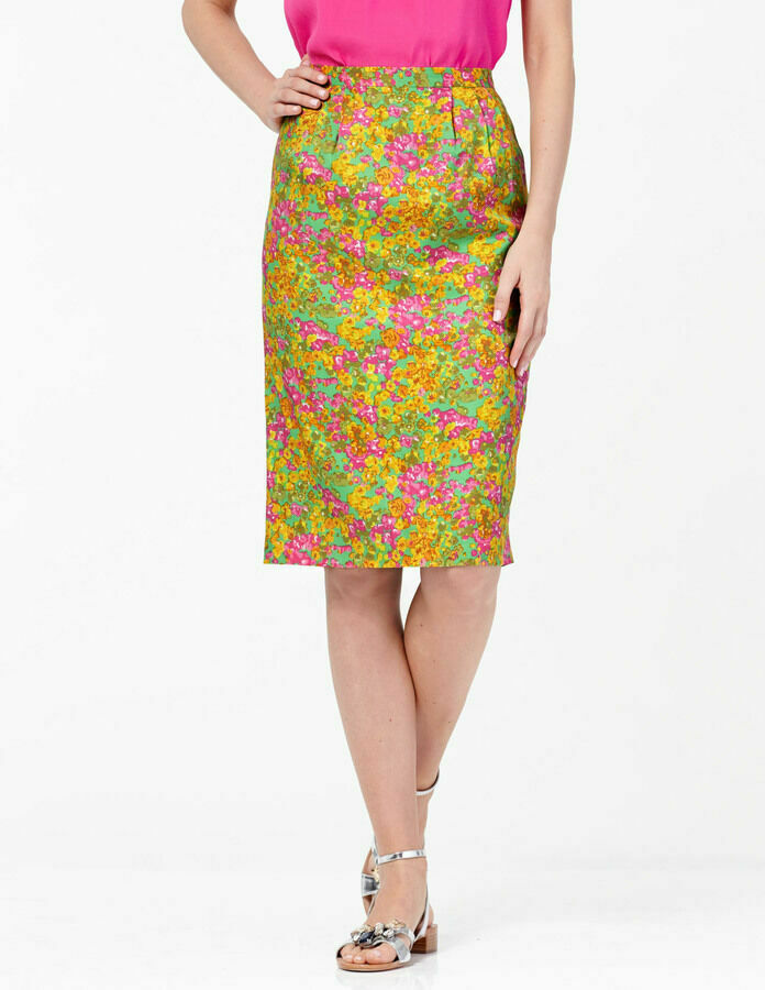 NEW  BODEN MULTI-COLOR YELLOW FLORAL LINED SILKY PENCIL SKIRT WG542 - US 8 L