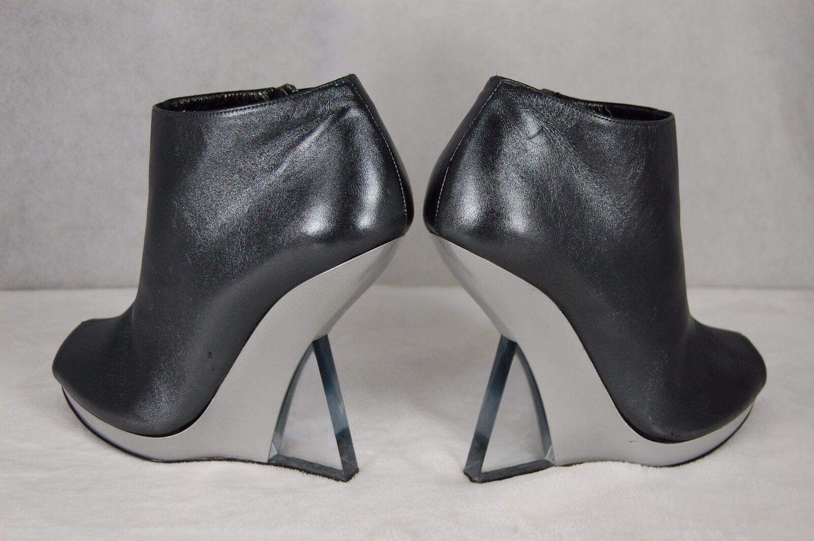 Salvatore Ferragamo Plexi Wedge Heels Metallic Leather Lucite femmes bottes 7.5