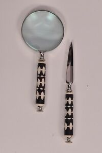 Antique-Handheld-Magnifier-Glass-amp-Paper-Cutter-Vintage-Office-Ware-Gift-Nautical