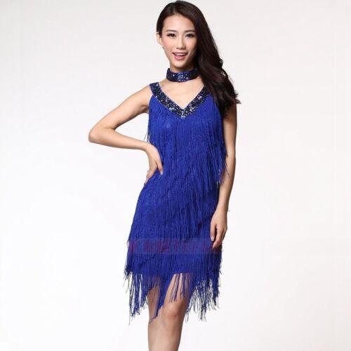 Franse Latein Pailletten V-Ausschnitt Kostüm 9 Farben Kleid, Halskette