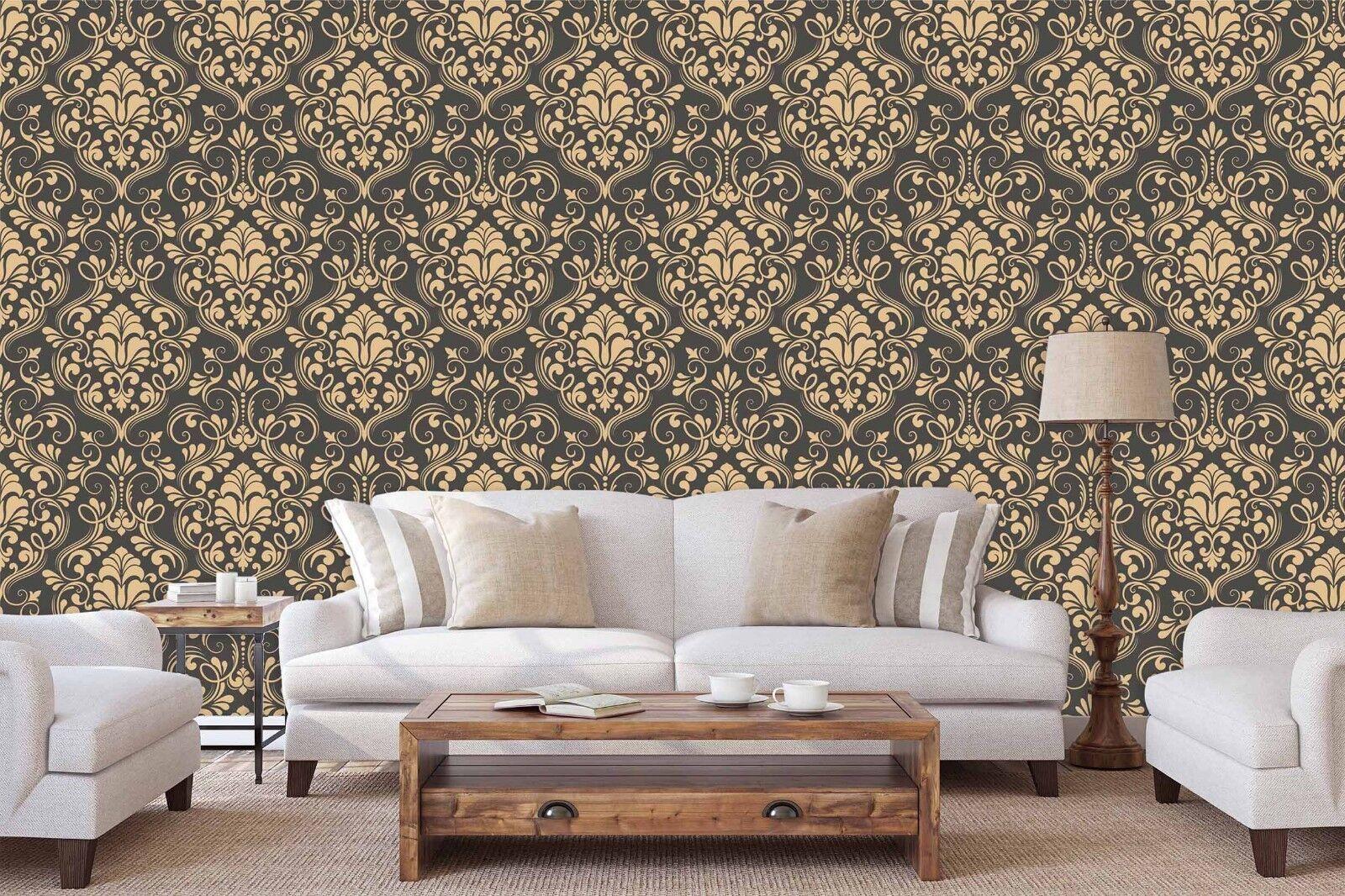 3D Golden Floral 739 Wall Paper Print Wall Decal Deco Indoor Wall Murals US