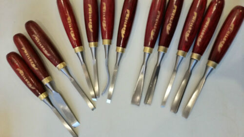 Selection of 12 Wood carving chisels. Precision Blades and Wooden Handles