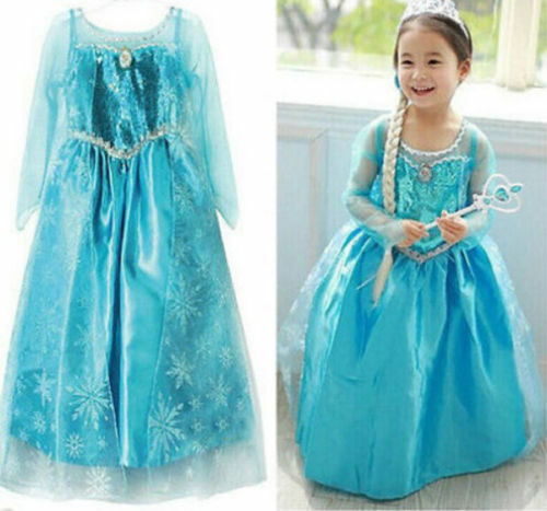 Girls Princess ELSA Queen Dress  Costume Party Fancy Dress CROWN cosplay