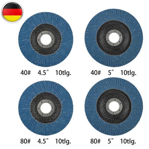 10 Stück 115mm//125mm Lamellenscheiben Fächerscheiben Flach Schleifscheiben Blau