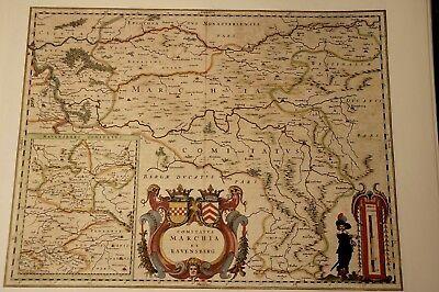Hist. Landkarte Dortmund Bochum Unna Altena Menden Soest Hamm Eberfeld 1658