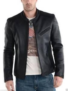 Men-039-s-Leather-Jacket-Genuine-Lambskin-Bomber-Biker-Moto-Slim-Fit-Cafe-Racer-Coat