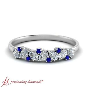 Pear-Shaped-Diamond-And-Round-Sapphire-Gemstone-Delicate-Wedding-Band-0-45-Ctw