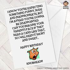Funny Birthday Card Rude Naughty Friend Best Mate Knobhead Male Female Man Woman