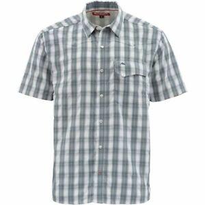 Size 2XL Simms Big Sky Short Sleeve Sleeve Shirt-Aqua Plaid Closeout