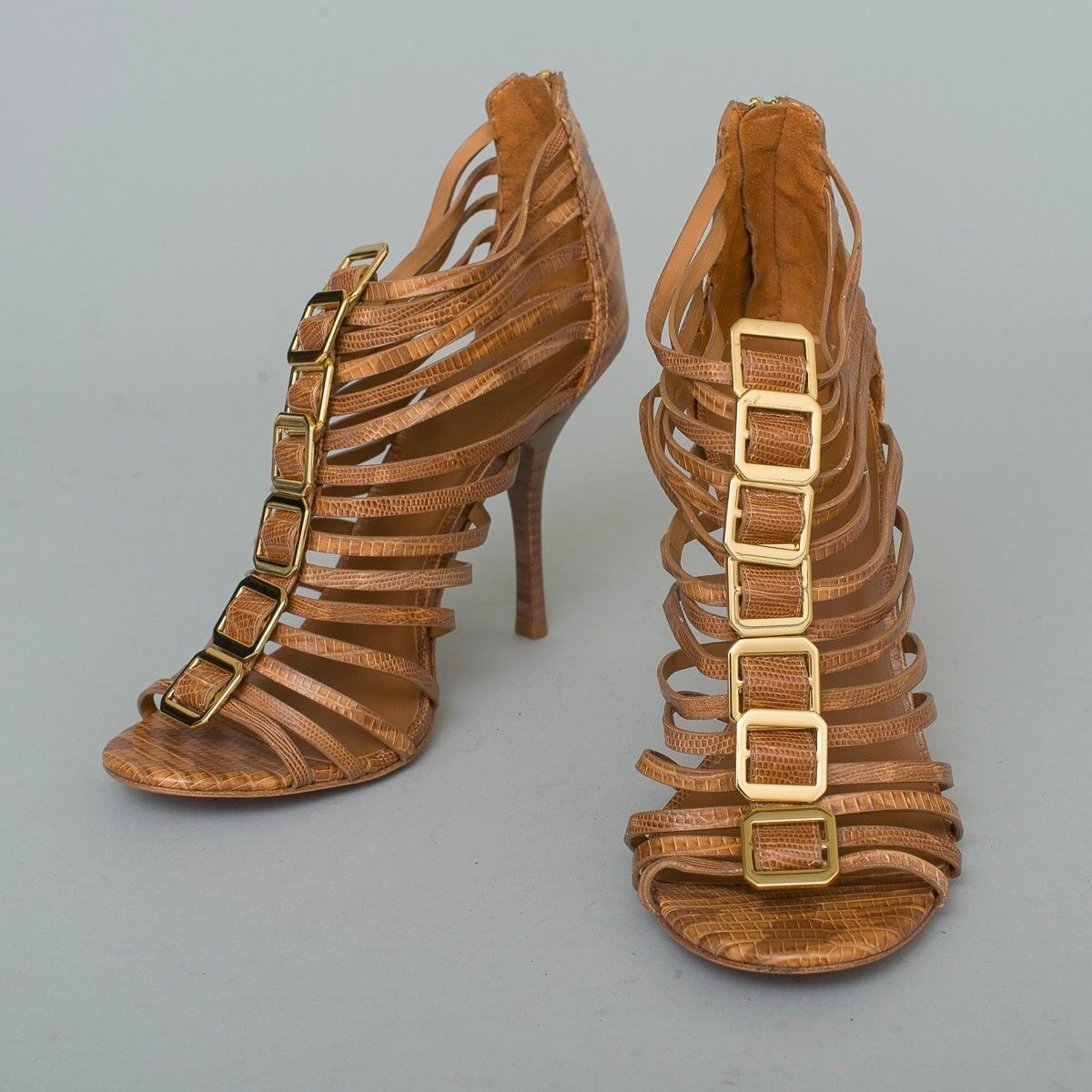 NEW! Tory Burch Designer Brown Pelle 'Snakeskin' Strappy High Heels Size 10