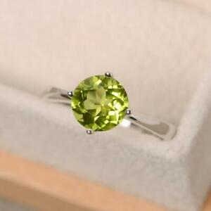 925-Sterling-Silver-Natural-Certified-5-Ct-Peridot-Handmade-Antique-Cluster-Ring