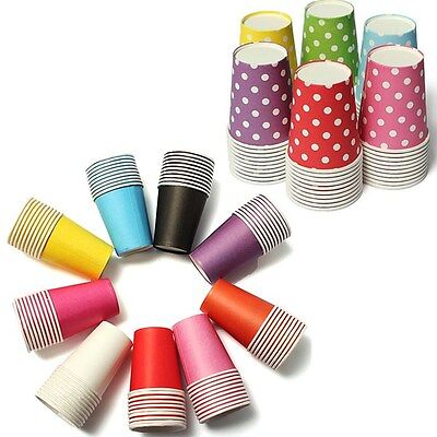 10~50pcs Colourful Paper Tableware Cups Party Wedding DIY Paper Events Drinking