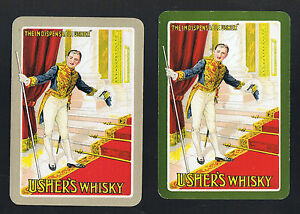 Swap-Playing-Cards-2-VINT-WIDE-034-USHER-039-S-034-SCOTCH-WHISKY-D59-THE-GENT-USHER