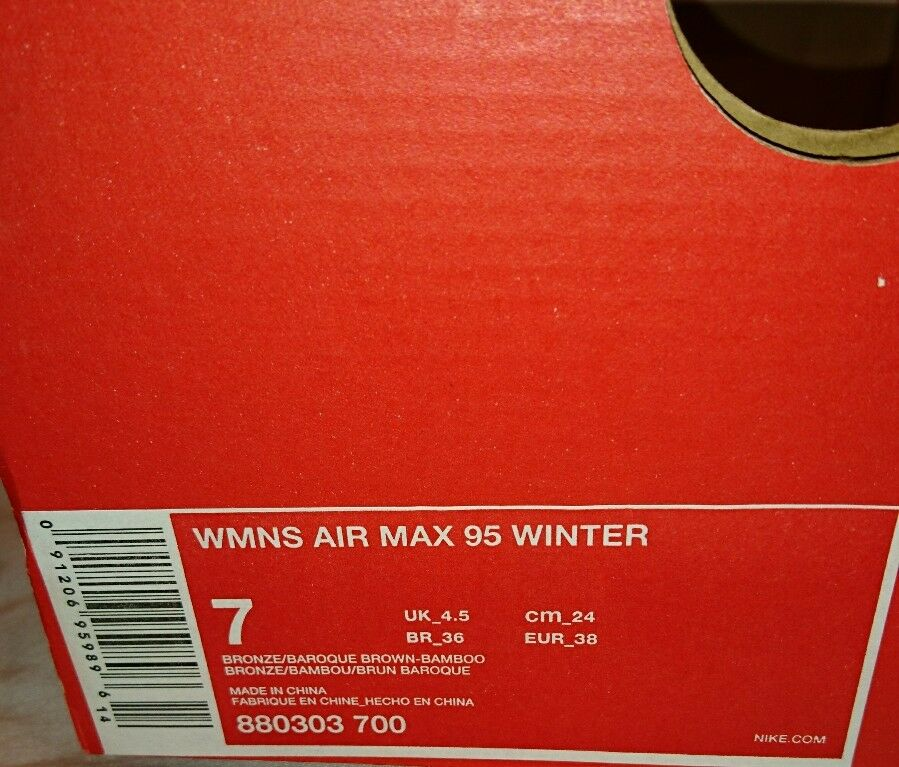 Nike Air Max 95 95 95 Winter Womens Trainers Bnib Sneakers ladies Uk 4.5 Bronze Brown c71ce6