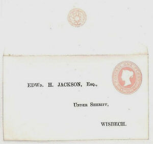 AE31 1860s GB PENNY PINK Reply Postal Stationery SHERIFF Wisbech Cambs Address