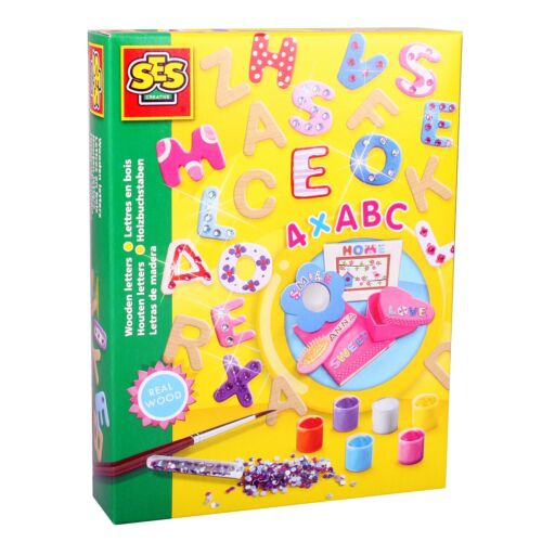 SES 14527 Bastel-Set Kreativ-Packung Deko HOLZ BUCHSTABEN 4x ABC