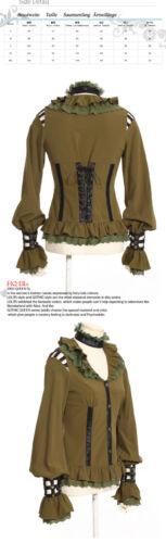 Rq Military Shirt Gothic Khaki Lolita Victorian Spitze Bluse bl S105 Steampunk rzq4xfrY
