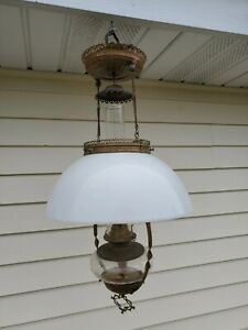 Vintage-P-amp-A-Mfg-Co-Metal-Copper-Hanging-Oil-Kerosene-Lamp-w-milk-shade