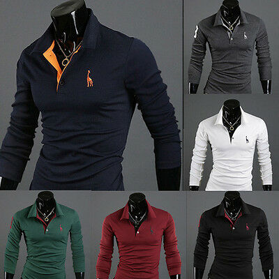 New Mens Slim Fit Long Sleeve Casual Polo Shirt T-shirts Tops 4 Sizes 6 Colors