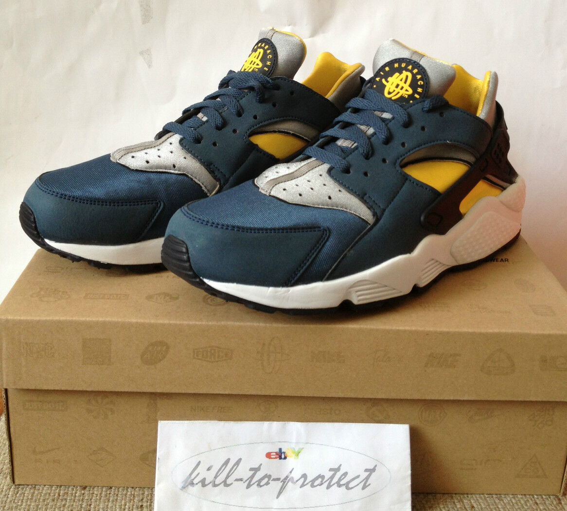 NIKE AIR HUARACHE LE US UK 7 8 9 10 11 12 13 BLUE YELLOW Silver 318429-400 2013