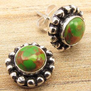 BID-START-0-99-GREEN-COPPER-TURQUOISE-Gems-Studs-Earrings-925-Silver-Plated
