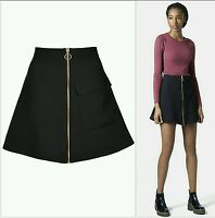 TOPSHOP BLACK PATCH POCKET FRONT GOLD ZIP ALINE MINI SKIRT SIZES 6-8-10-12-14
