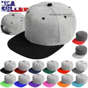 Baseball-Cap-Snapback-Hat-Flat-Bill-Blank-Plain-Solid-Adjustable-Mens-Caps-Hats