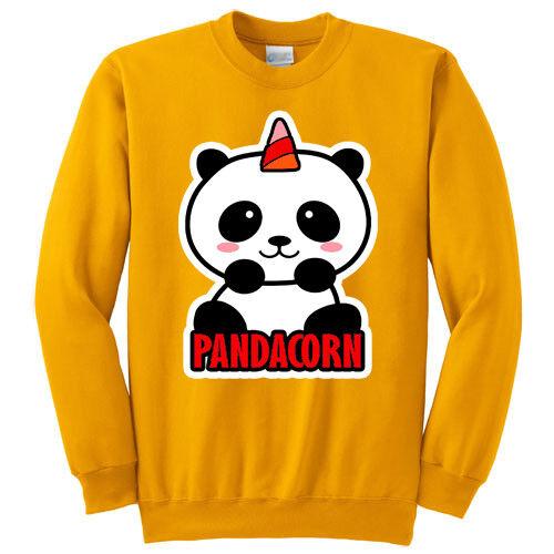 gialla! Panda unicorno kawaii Felpa girocollo donna Pandacorn