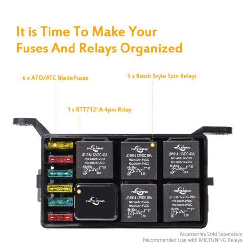 Universal Automotive Fuse Relay Holder 12-Slot Relay Box 6Relays 6 ATC//ATO Fuses