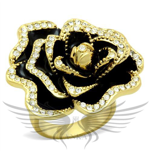 Rose Shape Top Grade Crystal Accented Fashion Cocktail Ring 5 6 7 8 9 10 GL021 *