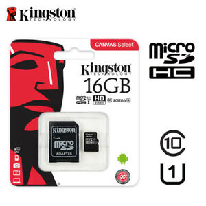Kingston-16GB-Micro-SD-SDHC-Class-10-Memory-Card-UHS-I-TF-80MB-s-Free-adapter