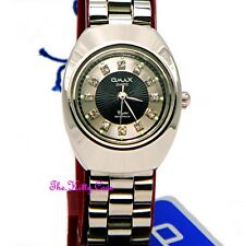 Classic Omax Waterproof Silver Rhodium Black Crystal Ladies Dress Watch WP3900