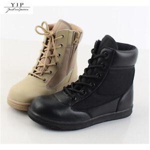 Yjp-Ninos-Nino-Chicos-Chicas-Botas-Tacticas-de-Combate-Tobillo-Alto-Zapatos-militar-al-aire-libre