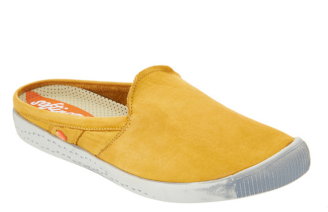 Softinos by FLY London Washed Leather Mules IMO Yellow EU 36 US Size 5.5 NEW