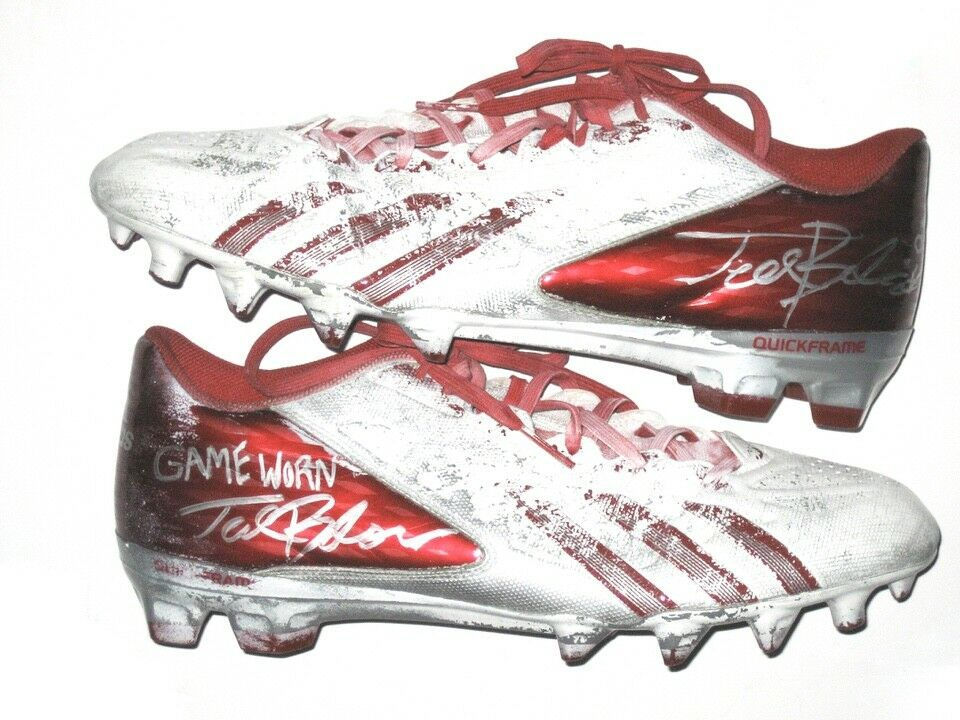 5aab6e10c8f2e TED TED TED BOLSER INDIANA HOOSIERS GAME WORN SIGNED RED   WHITE ADIDAS  CLEATS  REDSKINS
