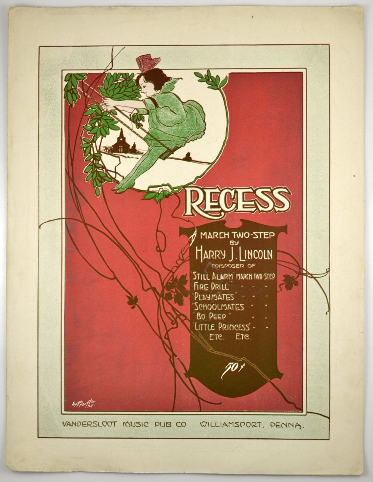 Recess A March Two-Step By Harry Lincoln E.H. Pfeifher Art 1916 Antique LF music