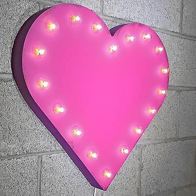 Heart Symbol Love Rustic Metal Vintage Valentine Marquee Sign Light - 23 COLORS!
