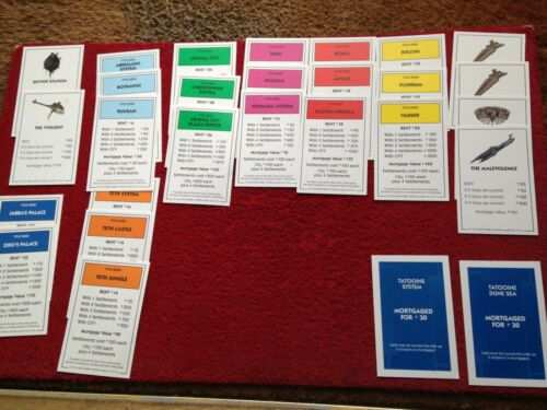 Many Versions Monopoly Star Wars Original Title Deeds Cards Full Packs