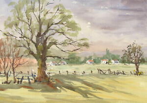 John-A-Case-Contemporary-Watercolour-Study-of-a-Field-with-Houses