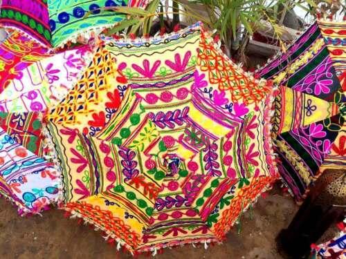 Rajasthani Art 10-Pc-Wholesale Lot Indian-Umbrella Wedding-Bridal-Shower Parasol