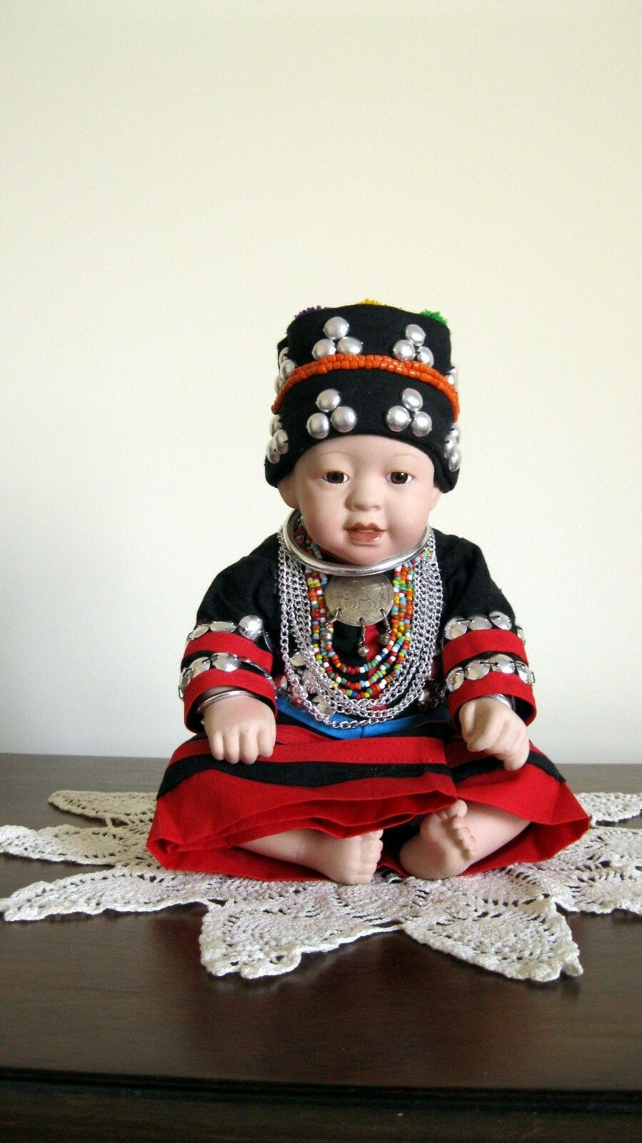 OOAK Porcelain Thai Lahu Hill Tribe Sitting Doll of Northern Thailand (New)  B