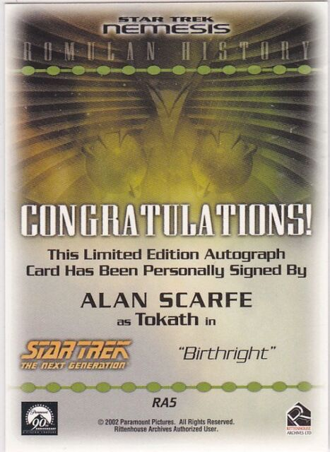 Star Trek Nemesis Trading Cards Autograph Card RA5 Alan Scarfe Tokath
