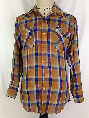 PANHANDLE SLIM Mens Western Shirt 15 33 Orange Pearl Snap Cowboy Rodeo Texas USA