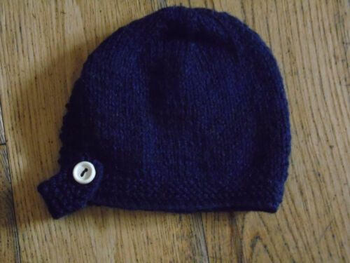 Brand New Hand Knitted Navy Baby Bonnet 0-3 6-9 Months 3-6